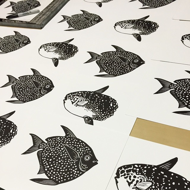 A new pair of prints, Sunfish and Moonfish, will be debuted tonight at Artwalk. Come by and see us from 6-11pm rain or shine! (at Is Projects)