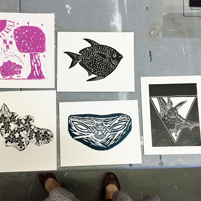 We have prints! Everyone was such a trooper today. We created out images, transferred them onto the plates, carved the plates, and printed them all in 5 short hours. Thank you so much to everyone who came out and to @toxiccookies for all of your help. We'll definitely be running this one again in August! (at Is Projects)