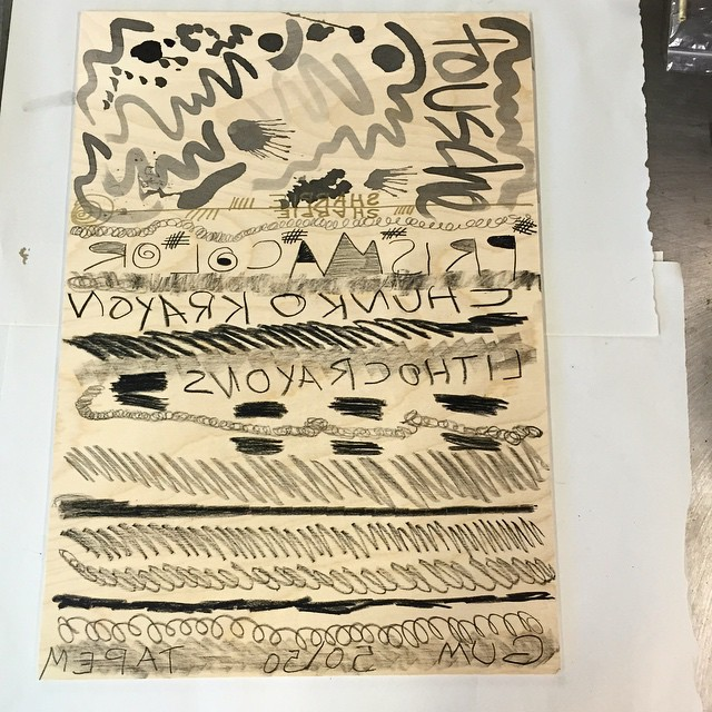 Test plate fun! Going to try out some wood litho after seeing a demo at SGCI. Keep your fingers crossed (at Is Projects)