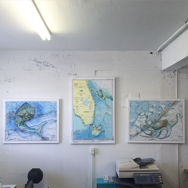 Our show this month is Carly Mejeur's Nautical Charts. Come on out for the FATVillage Artwalk tomorrow from 6-11pm to see the show, meet the artist, and check out what's in store for June! See you soon! (at Is Projects)