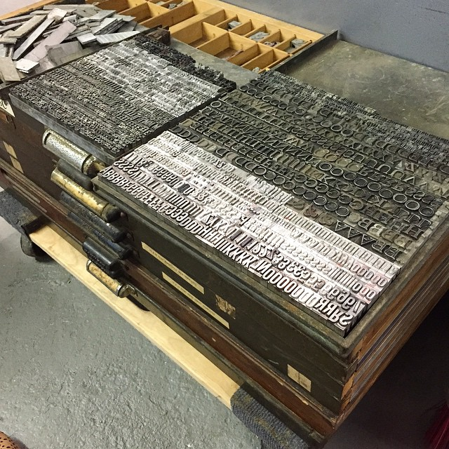 Our latest acquisition is over 400lbs of lead type! Some gorgeous Gothic Condensed, Goudy Oldstyle, Craw Clarendon, and even a 45lb drawer full e13b magnetic ink type (the typeface they number checks with) does anyone know why that exists in handset lead type? I puzzles me but I can't wait to use it! (at Is Projects)
