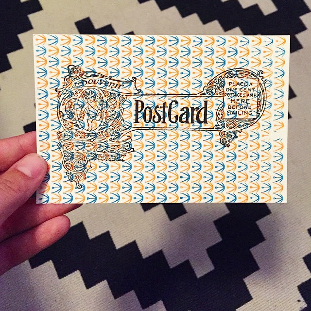 So stoked to come home after a long day to find this gorgeous postcard from @itinerantprinter in the mailbox! Good luck on the upcoming leg of your journey Chris, I can't wait to see what comes next!