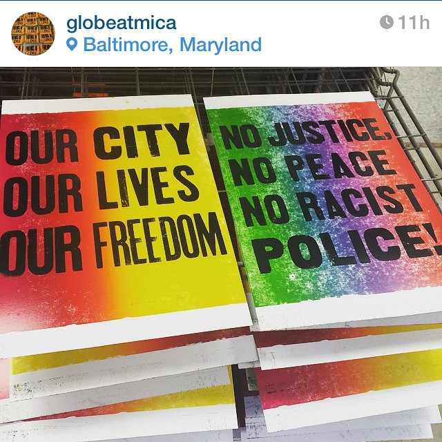 So glad to see our friends at Globe Collection and Press using the power of print in a time of much needed change. IS Projects began as a dream in a studio on West Chase Street in Midtown Baltimore. We stand with our fellow Baltimoreans and wish them safety and justice in this tumultuous time. Stay strong. #nojusticenopeace