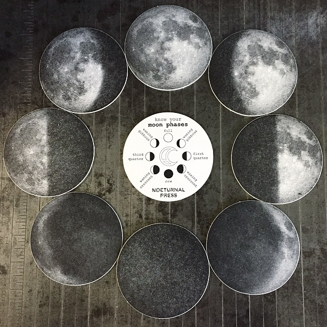 The perfect addition to a black coffee table, moon phase coasters! (at Is Projects)