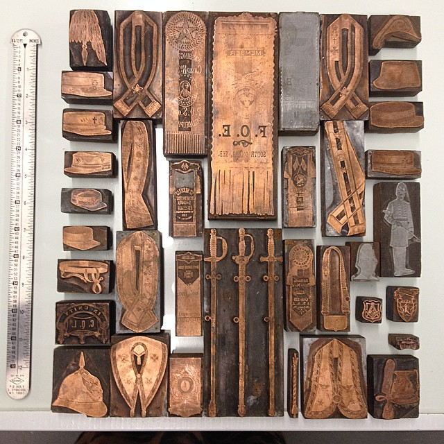 Get excited for a new poster using these gorgeous copper cuts from a late 1800s catalogue. Just picked up these cuts today, total score! (at Is Projects)