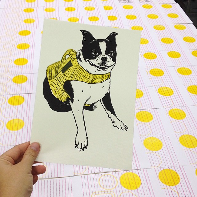 Second layer done! @chrisfritton and I were on the same yellow level haha. The Boston Terrier prints will be available tomorrow at the Fat Village Artwalk from 6-11pm. Come by and see the @itinerantprinter live and in person and check out what's new at the shop. (at Is Projects)