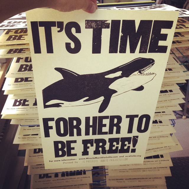 Lolita has spent 40 years working and living in the smallest Orca tank in the world. It's time to end the imprisonment of sentient beings. If you agree be at the #miraclemarchforLolita this Saturday at 930am. I'll be passing these out for marchers to carry. #freelolita #marchforlolita (at Is Projects)