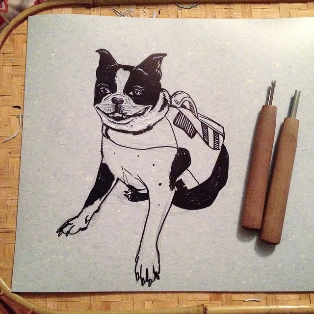 Started a carving of Bella in a life jacket to test out the new linoleum. Can't wait to get this on press tomorrow!