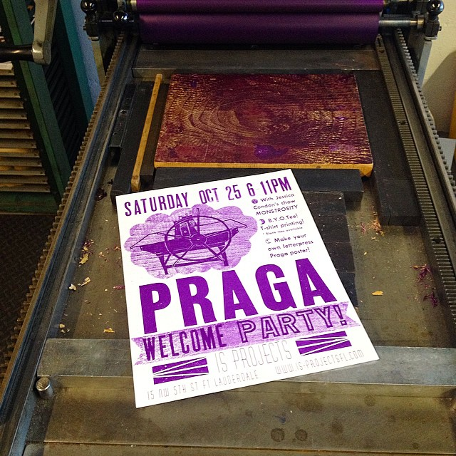 Purple on purple pressure printing proofs for the Praga party poster on press! Consonance game too strong today. #isprojects #nocturnalpress #letterpress #consonance #geekcity