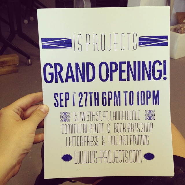 And here's the print! #isprojects #nocturnalpress #vandercook #letterpress #grandopening