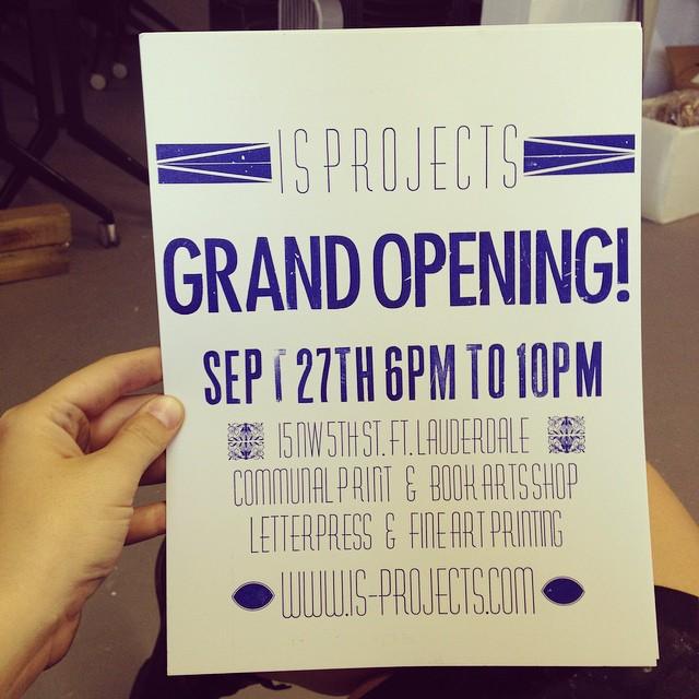 And here's the print! #isprojects #nocturnalpress #vandercook #letterpress #grandopening