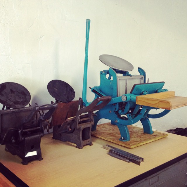 The three little presses. These will all be available for artists to rent. #isprojects #letterpress #fatvillage