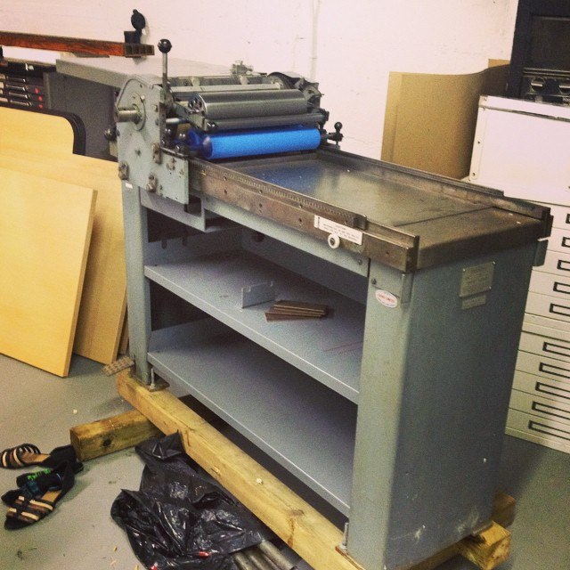 Finally out of the crate and almost assembled. #vandercook #sp15 #letterpress #isprojects #fatvillage #nocturnalpress