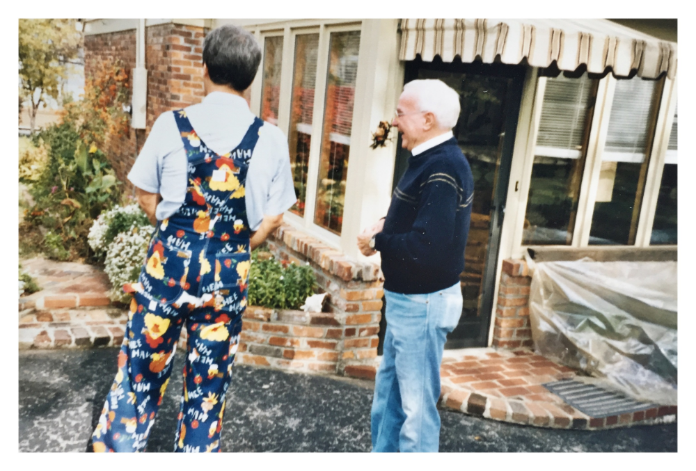 my father (in his hee haw overalls) & burton taking about the renovations he was having done to the early version   pgpad  .