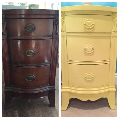 before & after of AB's brother's side table for the splash of yellow.