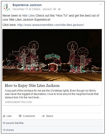 Experience Jackson Facebook post promoting an article on Nite Lites Jackson