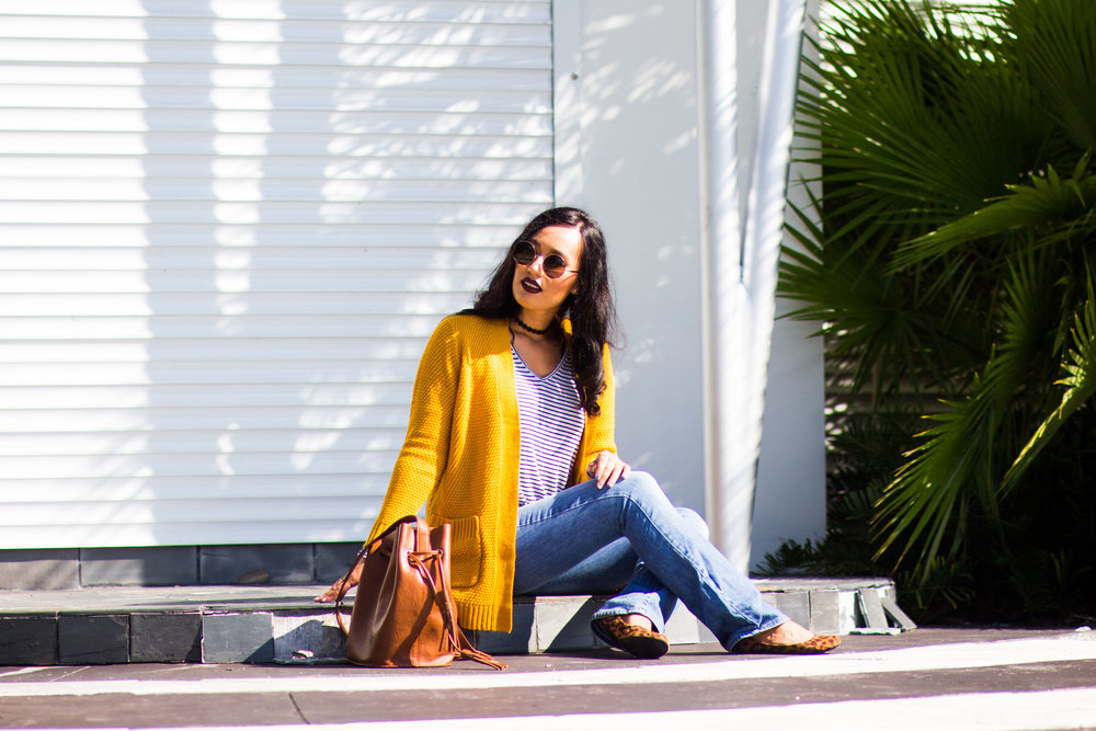 striped-mustard-sweater-flared-jeans