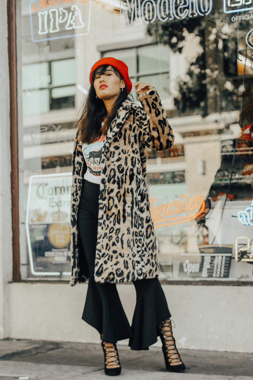 leoprad-print-coat-graphic-tee