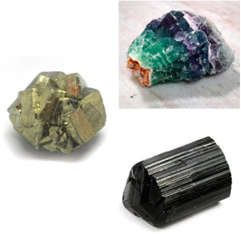 Pyrite, Fluorite and Black Tourmaline