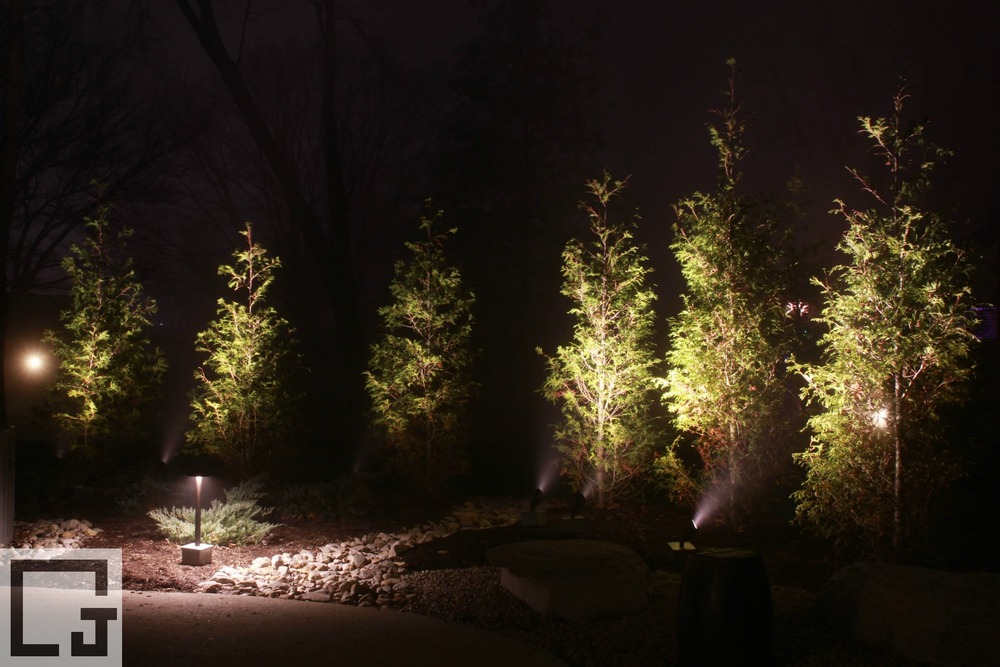 Using Our Portable LED Lighting To Show Homeowners What Their Backyard  Landscaping Could Look Like.