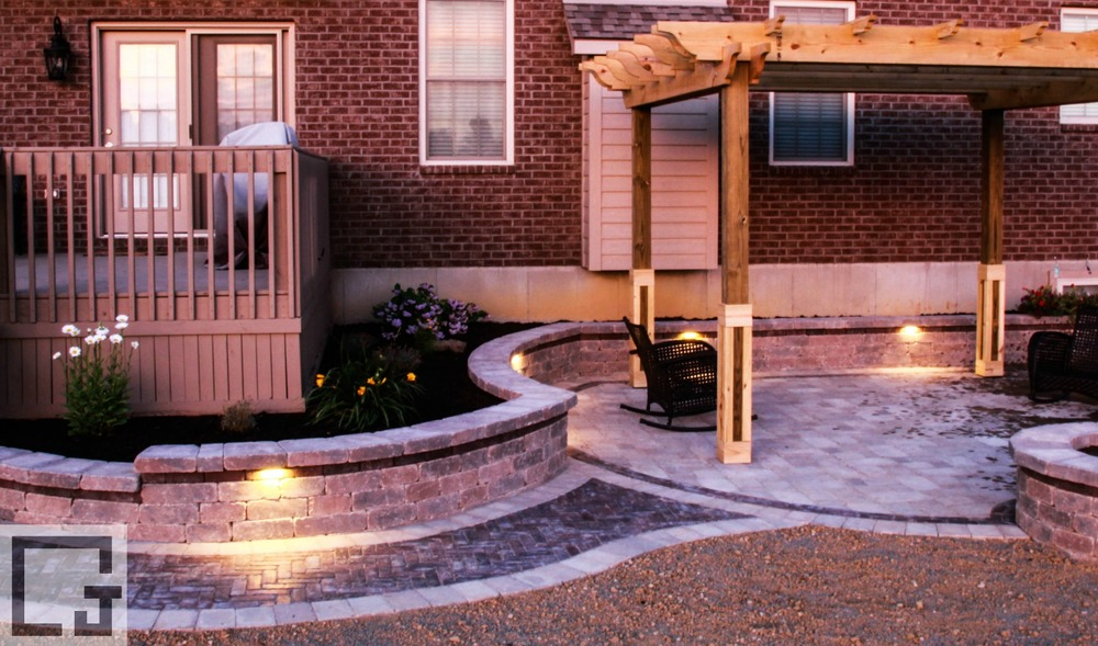 LED step lights under the garden wall cap set the mood on this paver patio. & Outdoor Lighting u2014 J Squared Outdoor azcodes.com