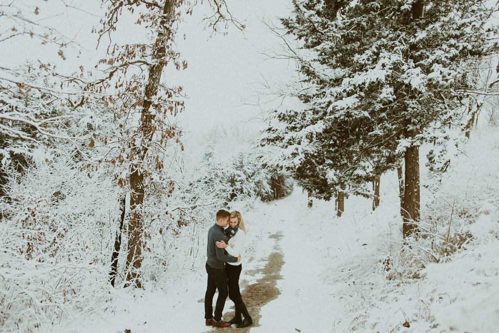 Todd + Anna  Snowy Engagement Session  Hitchcock Nature Center, Iowa view
