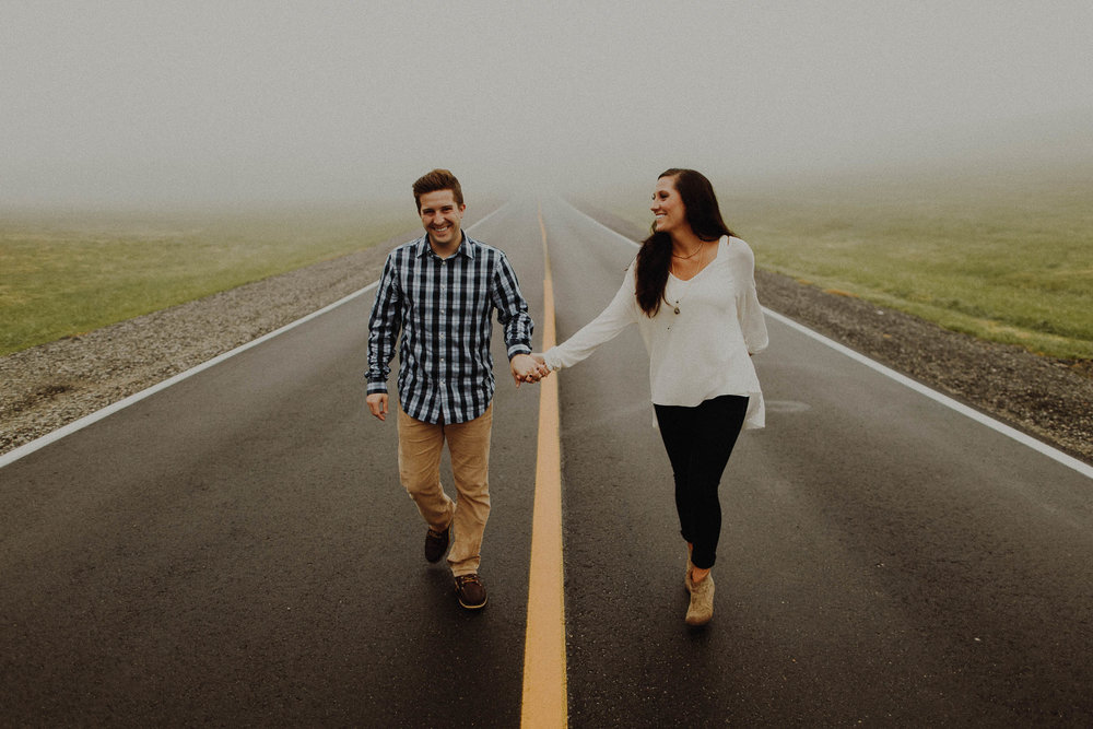 Josh + Kaitlin  Foggy Omaha, Nebraska Engagement Session View