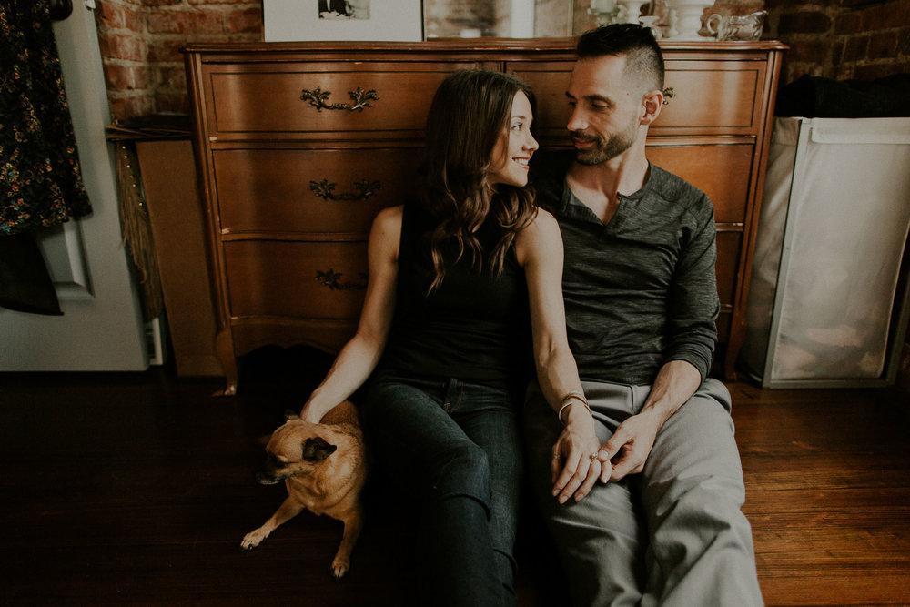 cute in home engagement session