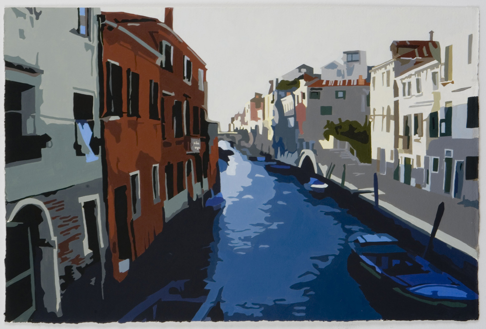 """Tourist scenes: Fondamenta della Miscordia , 2006, Acrylic on gessoed paper, 15"""" x 22 3/4"""""""