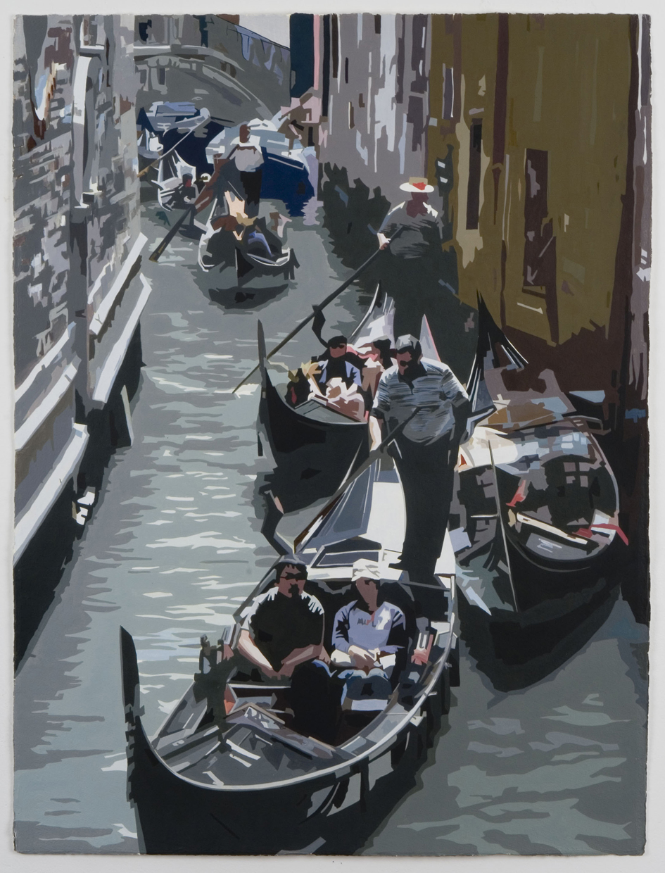 Tourist scenes: July in Venice , 2006, Acrylic on gessoed paper, 30 x 22-3/4 inches