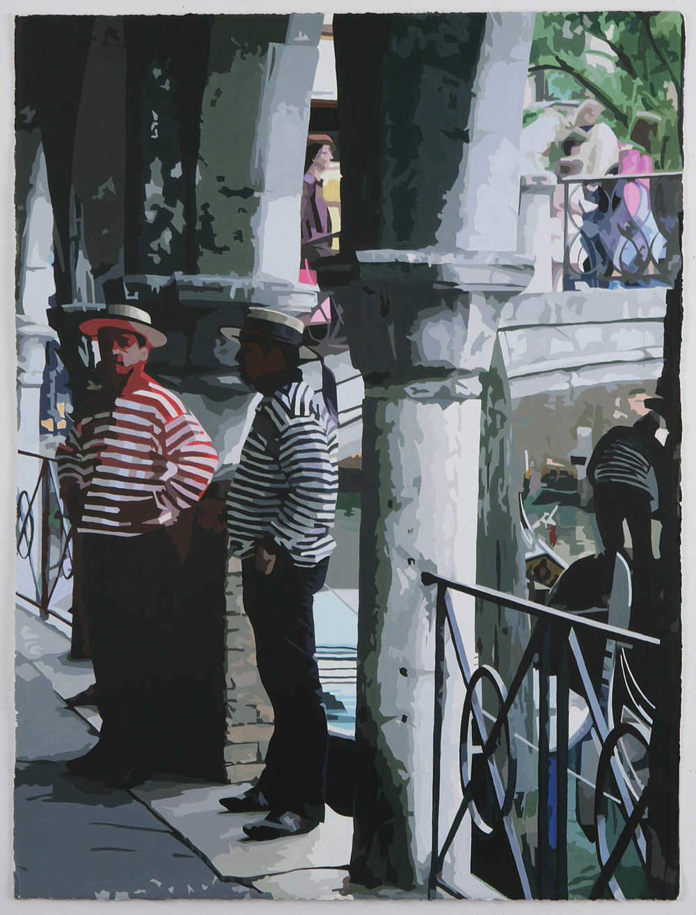 Tourist scenes: Gondoliers , 2007, Acrylic on gessoed paper, 30 x 22-3/4 inches