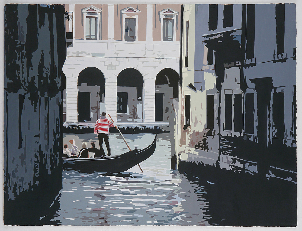 Tourist scenes: Entering the Grand Canal , 2007, Acrylic on gessoed paper, 22-3/4 x 30 inches
