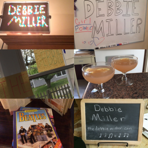 "It's the details that slay me.  Top: My name in a Lite Brite and on a girl-power white board in Downers Grove, IL. Middle: The welcoming room and a specially prepared cocktail called ""The Debbie Miller"" in Stonington, CT. Bottom: Music pop-up books placed in my room in Oneonta NY, and my name on the cutest chalkboard that ever was in New Lenox, IL."