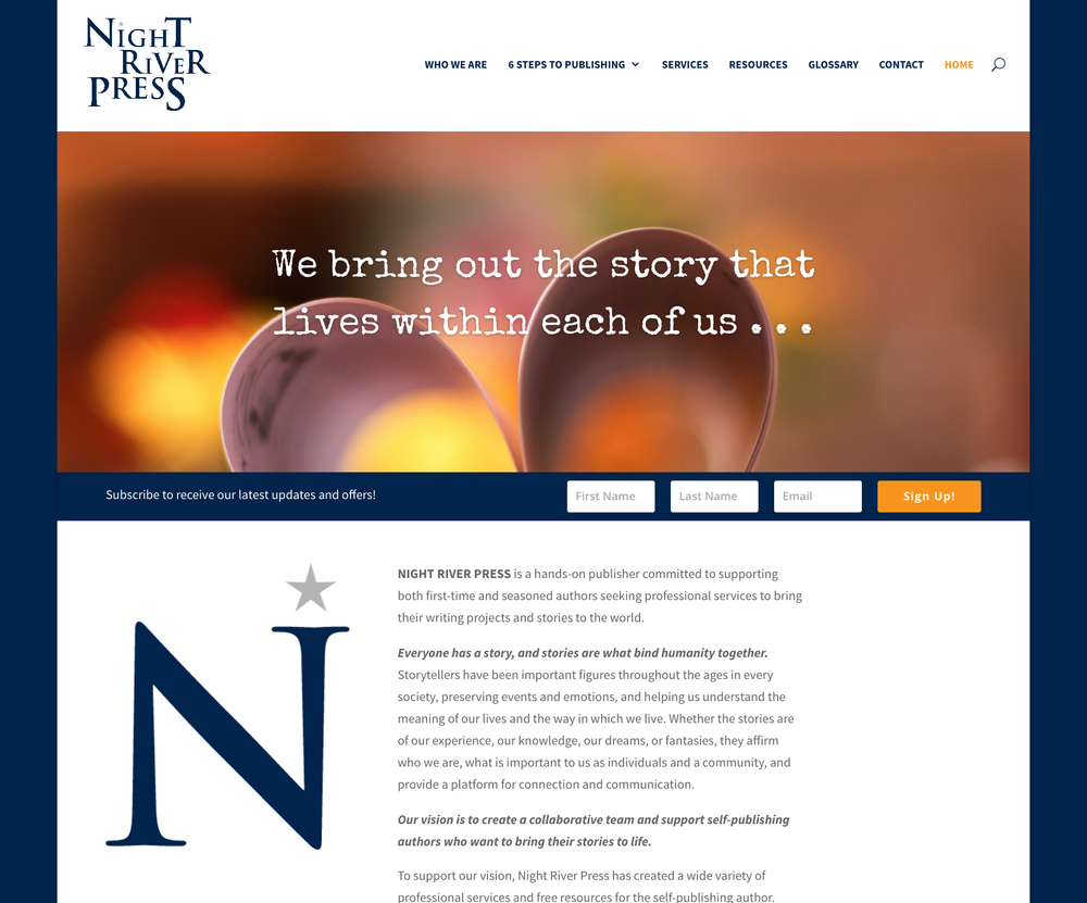 WEBSITE DESIGN + DEVELOPMENT, TRADEMARK, BRANDING  |  Night River Press