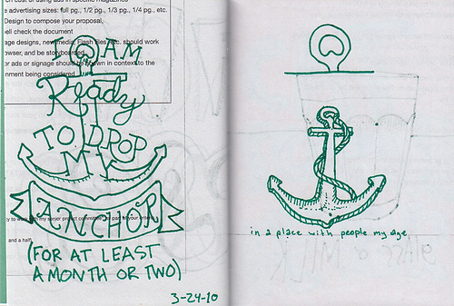 I drew this on March 24, 2010. I have now dropped my anchor in Spanish Fort, AL. It's a-rockin and a-rollin big time.