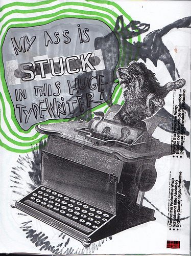 I've begun a new sketchbook. This is another one that I made by hand. I'm trying to focus on collage based sketches. This poor lion got his ass stuck in a typewriter. Who put that typewriter in the jungle anyway?