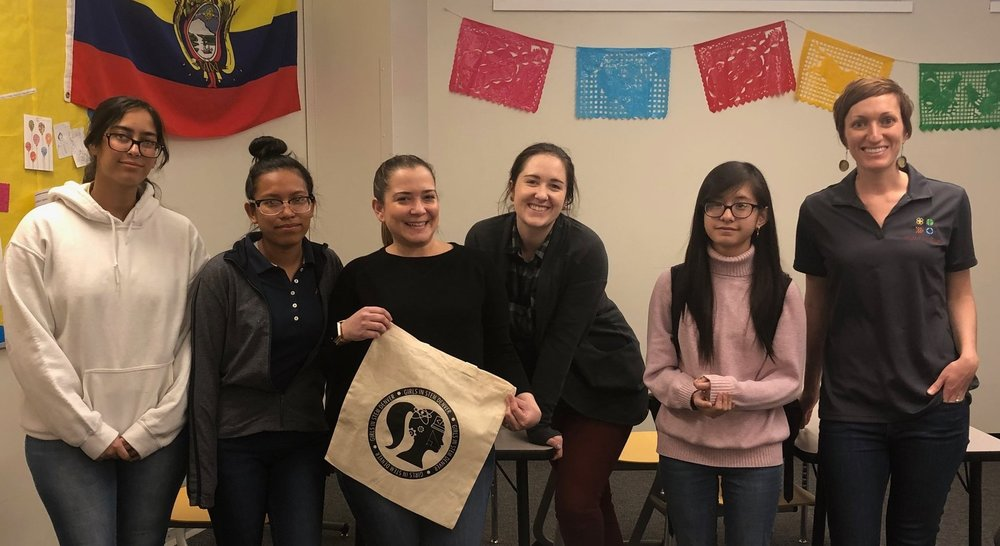 Jannie Fernandez, NCWIT K-12 Alliance & TECHNOLOchicas Director (third, left to right), with the members of our DSST College View High School Chapter.