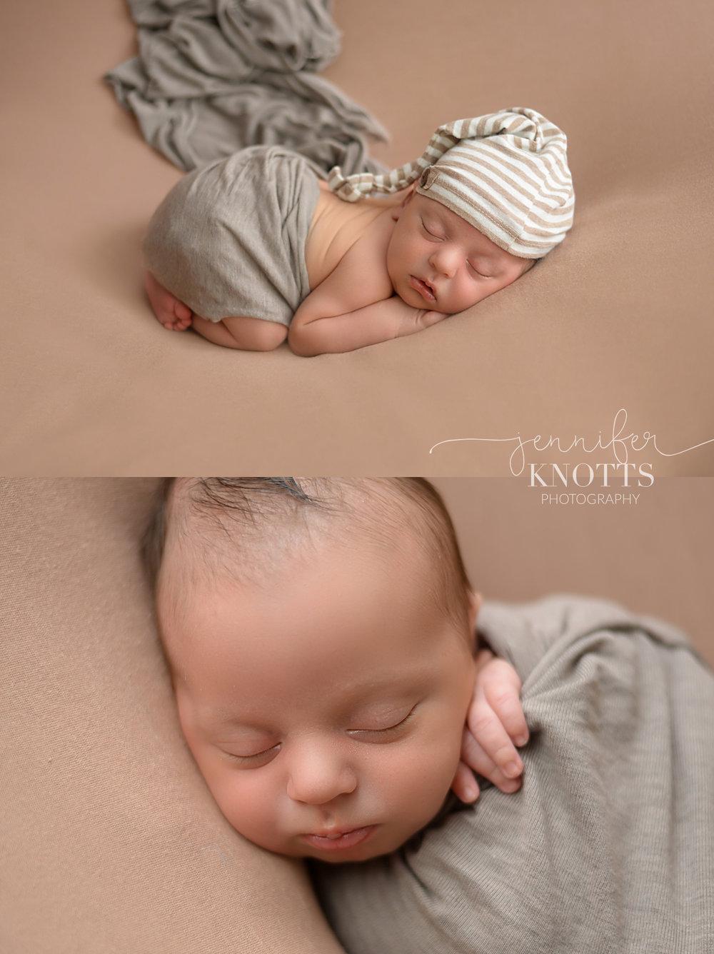 Wilmington nc newborn photographer captures sleeping newborn boy in neutral colors