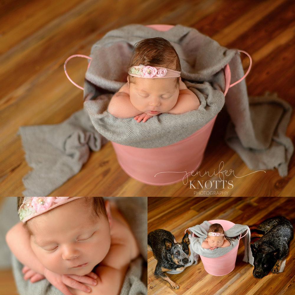 baby girl sleeps in pink bucket