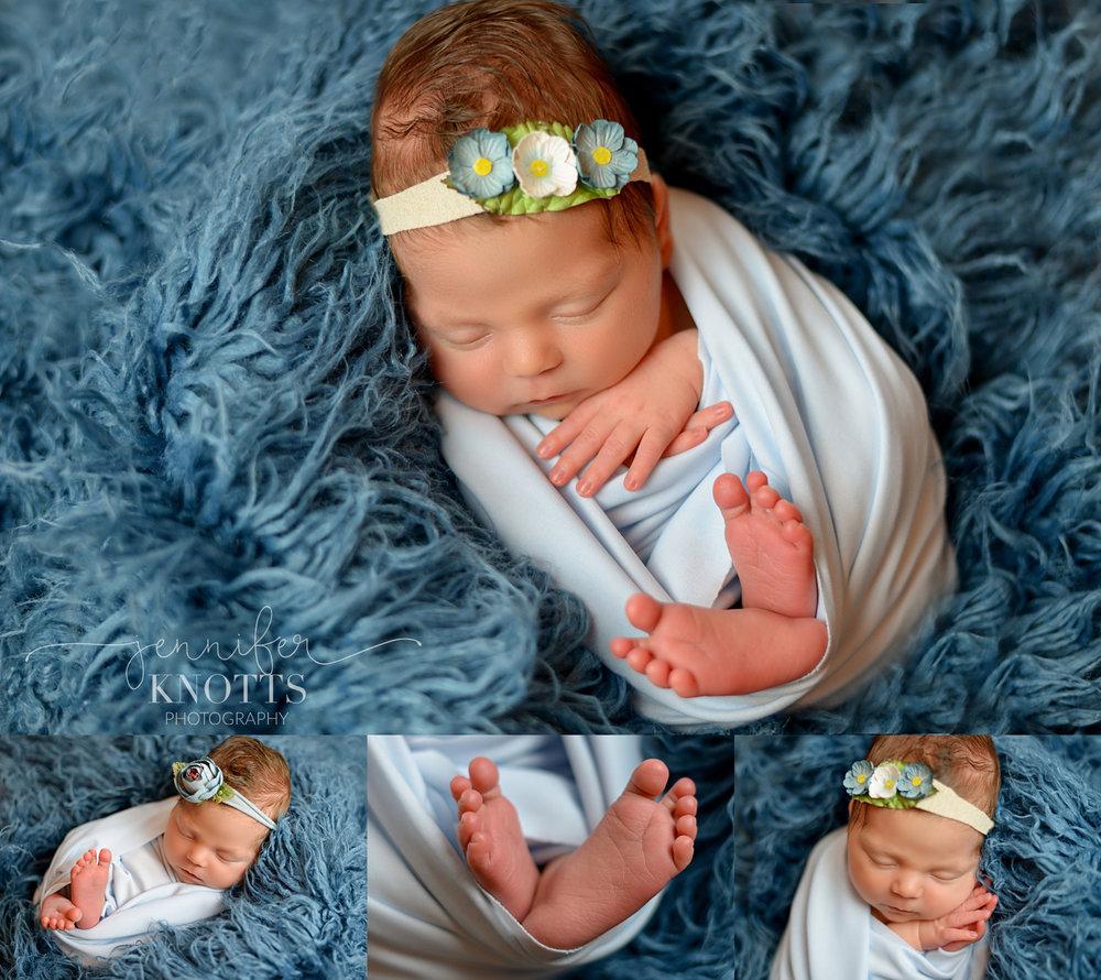Wilmington photographer captures newborn girl sleeping on blue fur with feet exposed