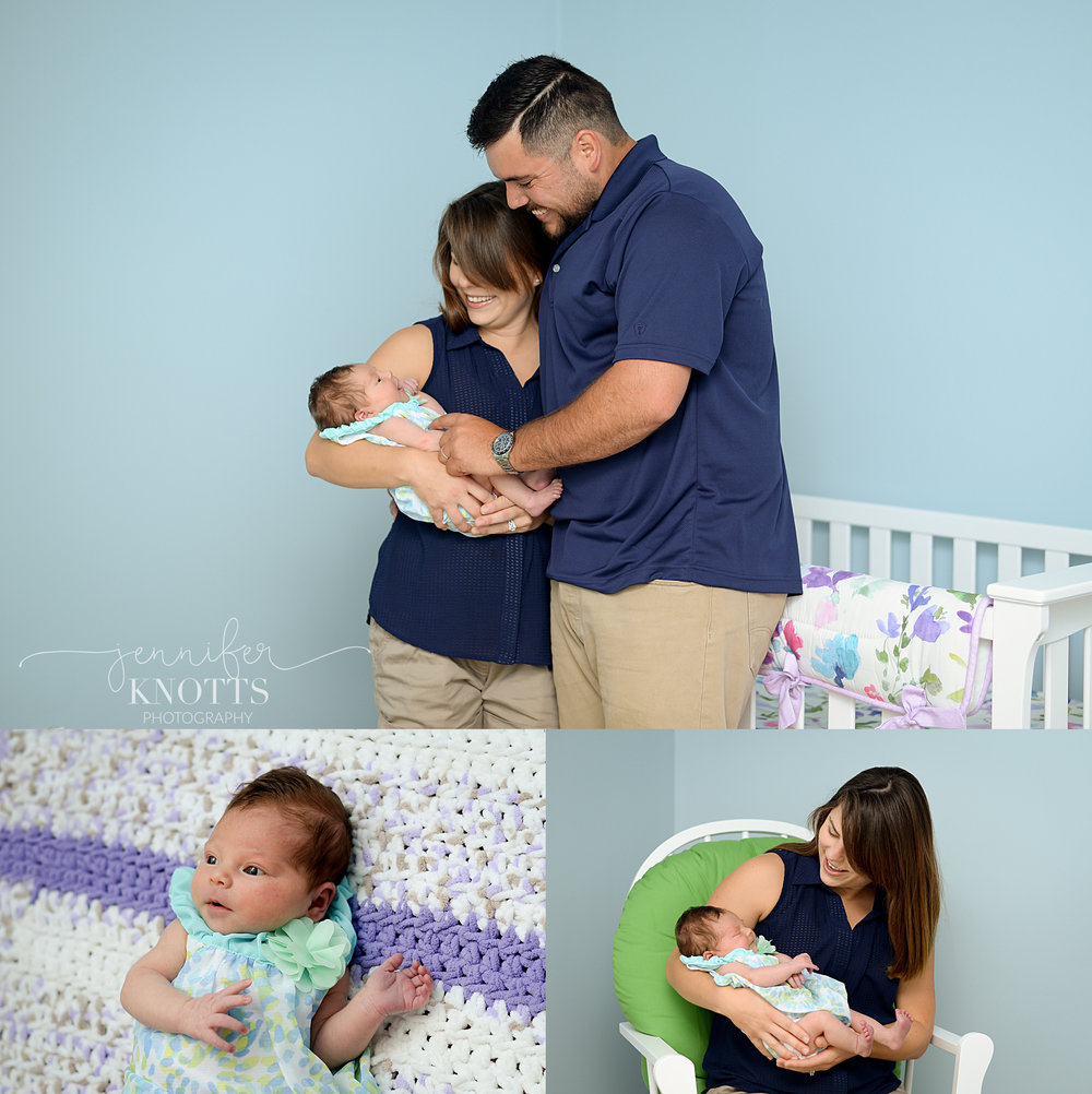 Wilmington photographer captures newborn baby girl in blue and green outfit