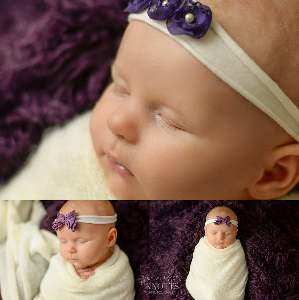 baby girl wrapped in white on purple fur captured by Wilmington newborn photographer