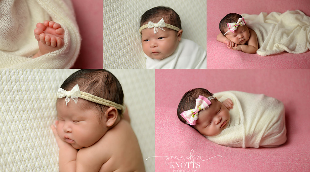 Wilmington newborn photographer captures baby girl sleeping wearing bow