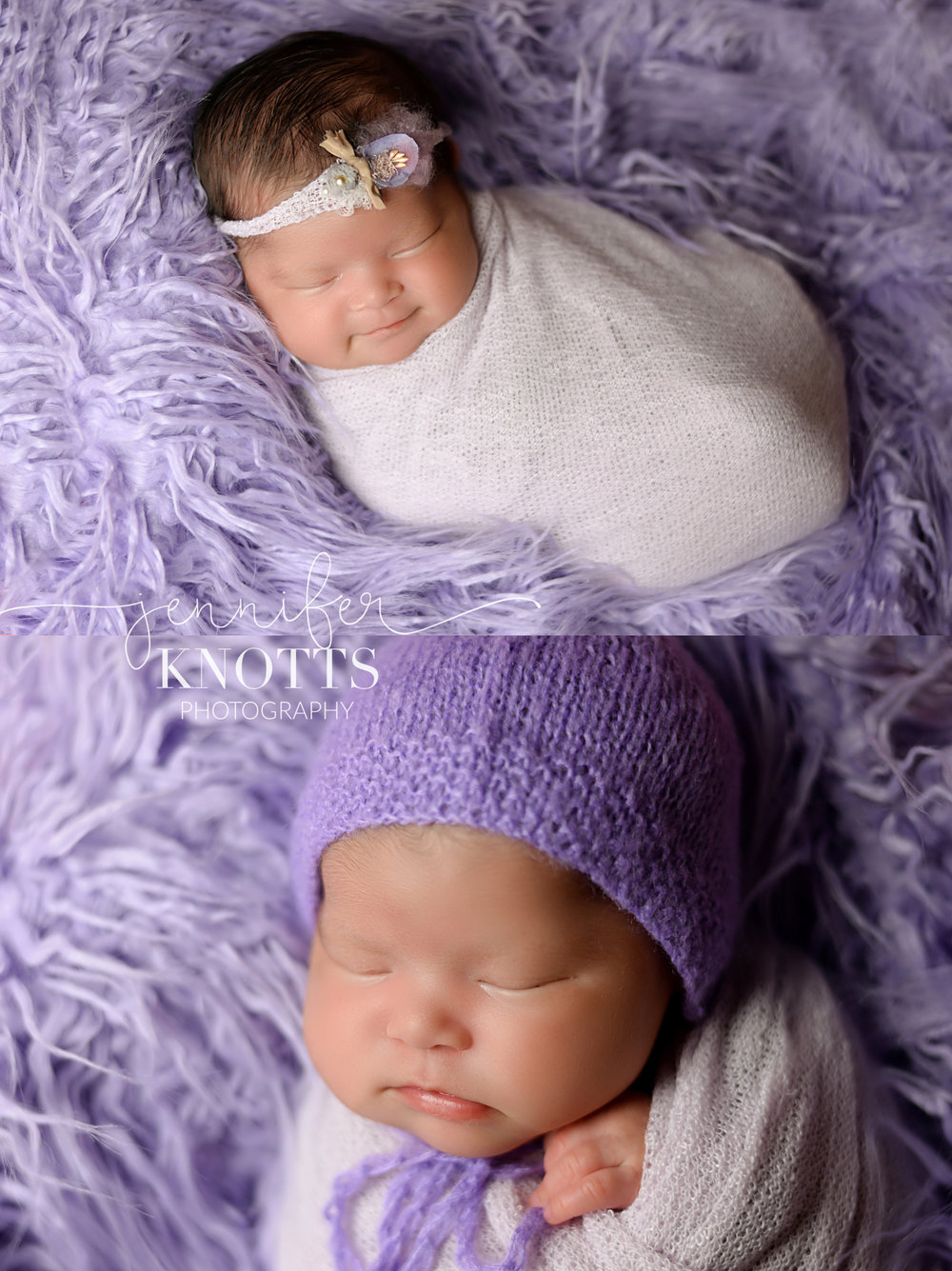 newborn girl sleeps on purple fur during Wilmington nc newborn session