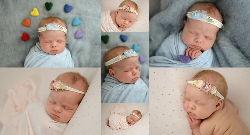 baby girl with rainbow hearts sleeps above head sleeps on blue fluff and pink polka dot fabric