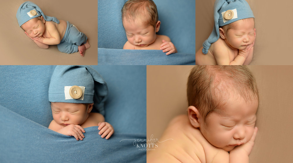 Wilmington newborn photographer captures baby boy with blue sleepy cap