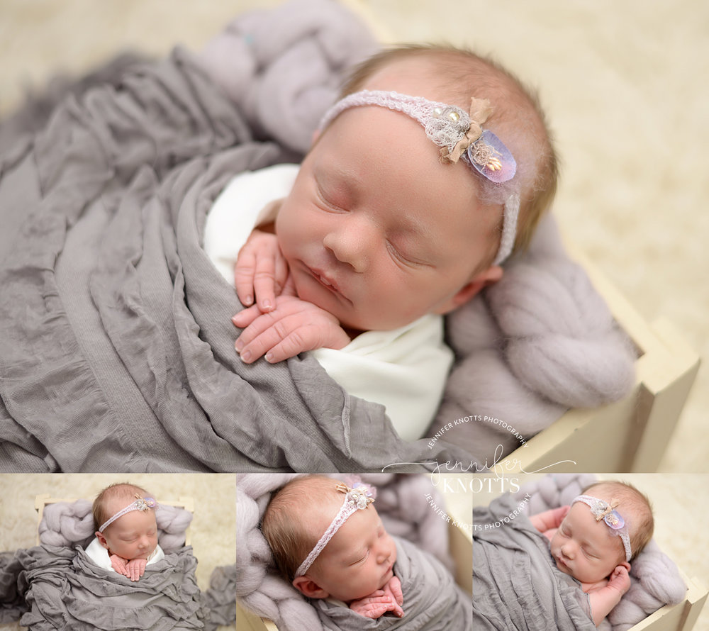 baby girl sleeps wrapped in gray and purple during Wilmington nc newborn session