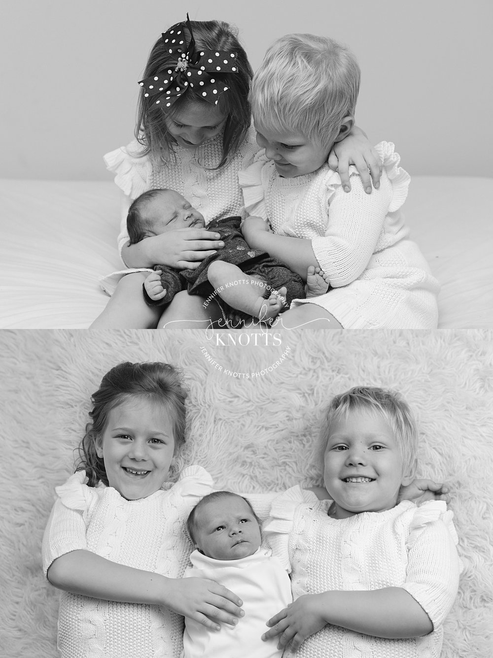 black and white images of big sisters cuddling with newborn baby girl