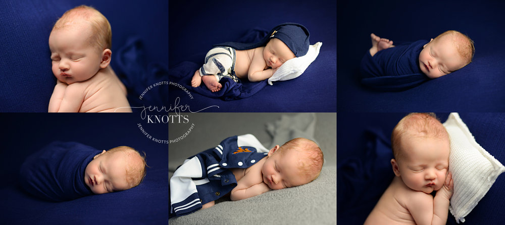 newborn baby boy sleeps on navy fabric during Wilmington newborn session
