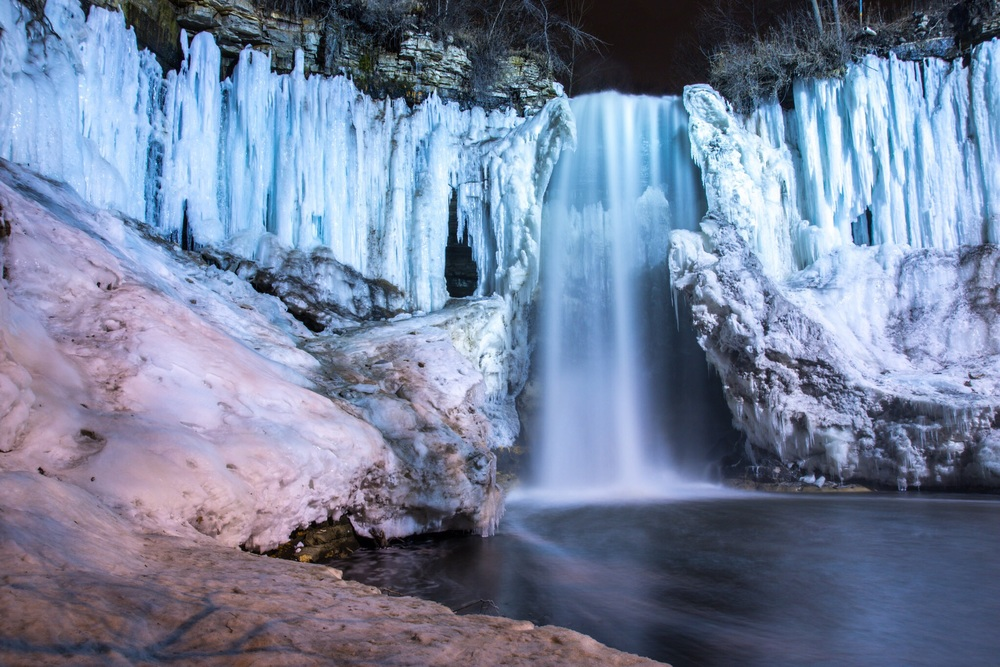 Minnehaha falls from the ice.